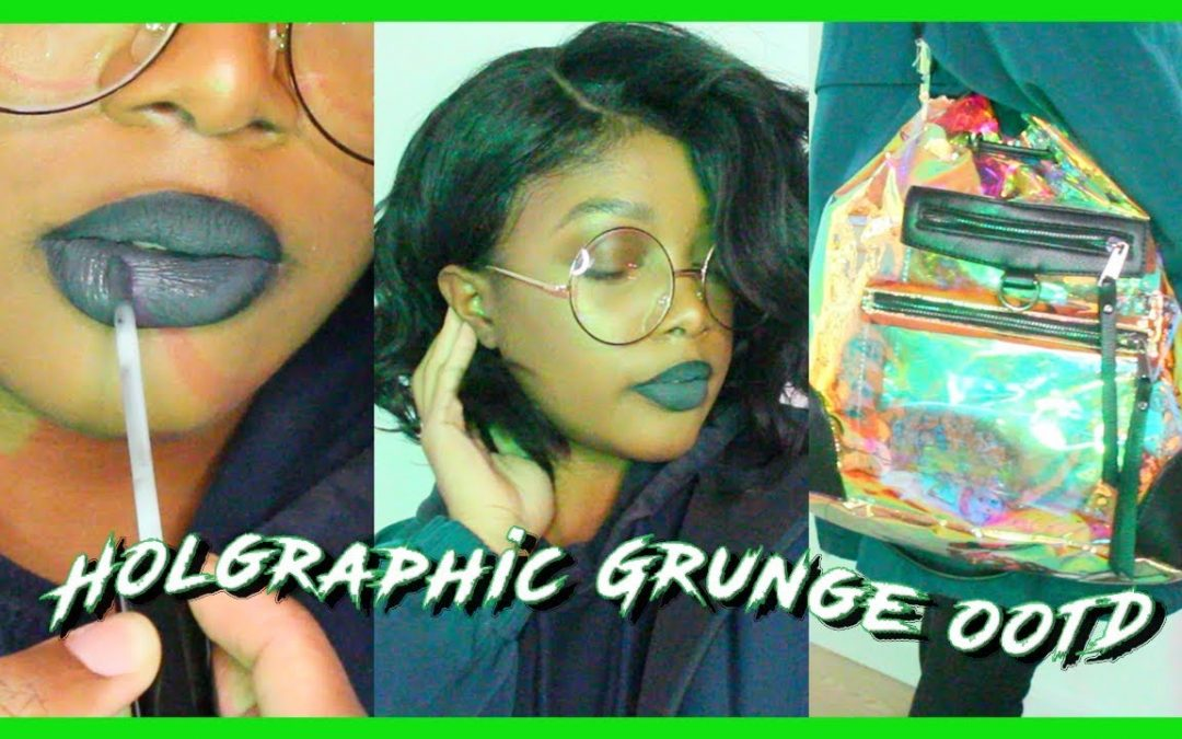 Holographic Grunge Makeup, Wig & Outfit OOTD ft. Sams Beauty Curly Bob Wig