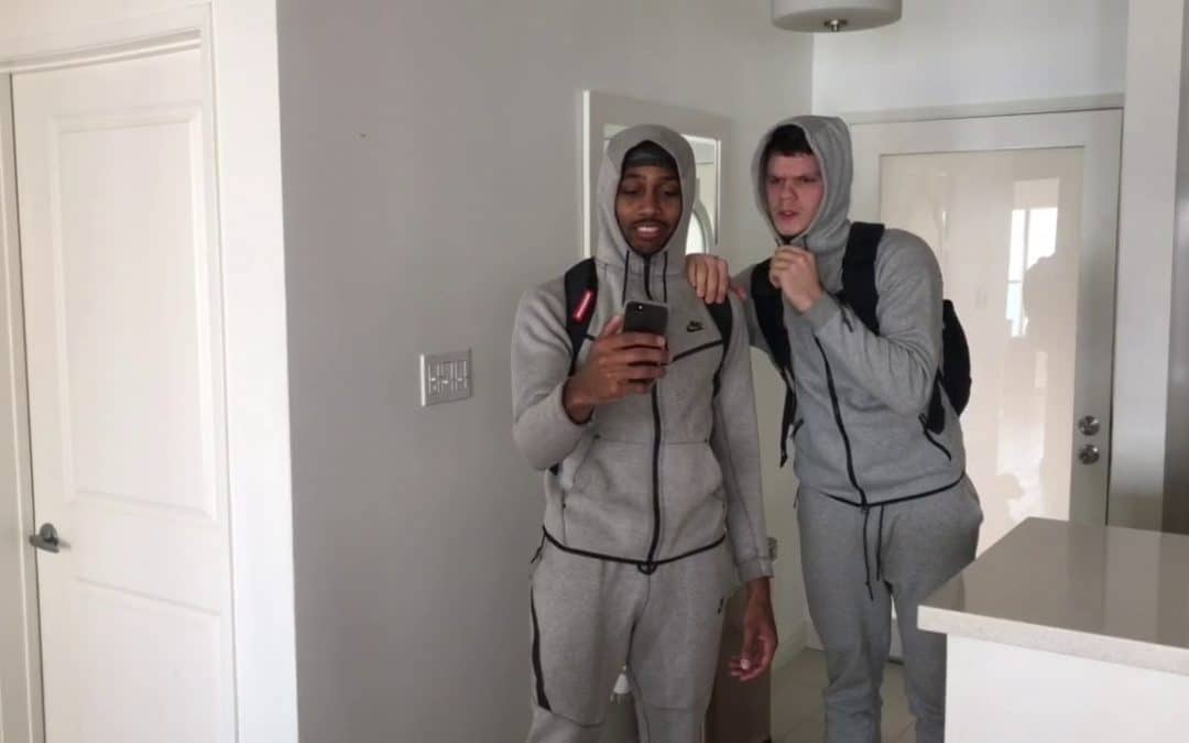 Gelo & Melo teammates Snapchat them after their first pro game in Lithuania.